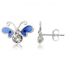 Pillangó fülbevaló, 925 ezüst - kék zománcos szárnyak