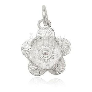 Medál 925 ezüstből - filigrán virág, golyócska