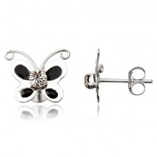Ezüst fülbevaló 925 - zománcos fekete pillangó