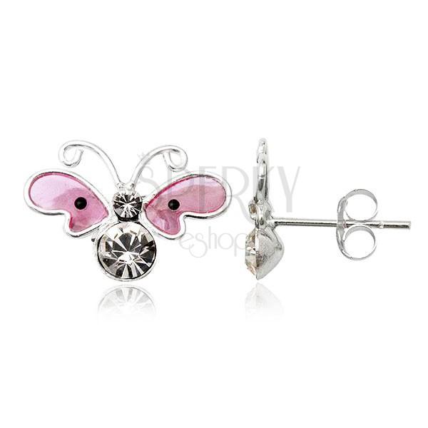 Ezüst fülbevaló 925 - cirkóniaköves rózsaszín pillangó