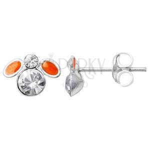 Ezüst fülbevaló 925 - cirkóniaköves narancsszínű légy