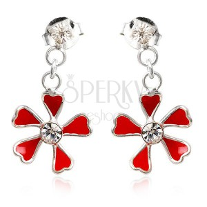 Ezüst 925 fülbevaló - függő piros virág