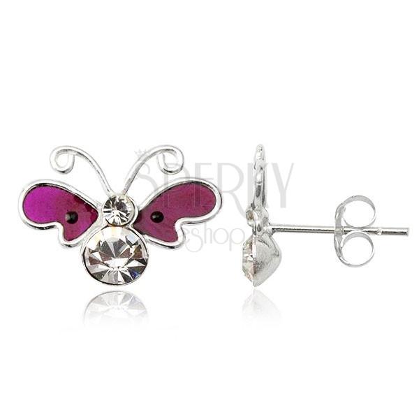 Fülbevaló 925 ezüstből - lepke, lila szárnyak, cirkonköves test