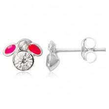 Bedugós ezüst fülbevaló - kis légy rózsaszín szárnyakkal