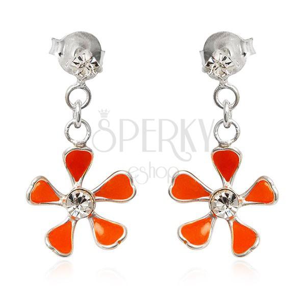 Beszúrós ezüst fülbevaló - narancssárga virág, lánc