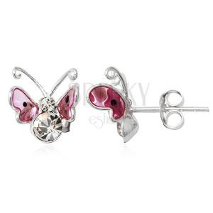 Fülbevaló 925-ös ezüstből - pink 3D pillangó, fekete pöttyök