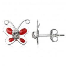 Ezüst fülbevaló - zománcozott piros pillangó, cirkonköves