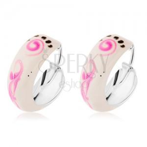 Fülbevaló 925 ezüstből - fehér fénymáz, rózsaszín spirál
