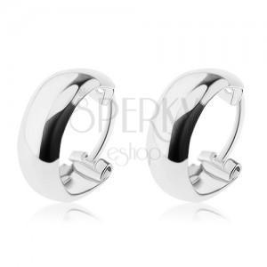 Ezüst 925 karika fülbevaló - gömbölyű szélek, belül mélyedés, 10 mm