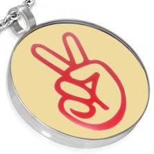 Kör alakú acél medál - PEACE logó, kézfej