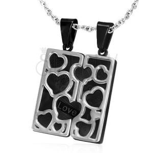 Nemesacél medál pároknak - fekete tábla, ezüst szívek
