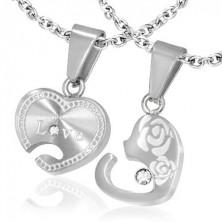 Medál pároknak - cirkóniaköves szívek felirattal és rózsákkal