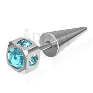Hamis expander acélból - kocka, beágyazott világoskék cirkóniák