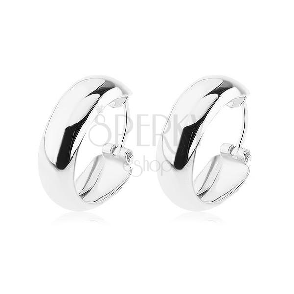Ezüst 925 fülbevaló - karika, belül mélyített, 16 mm