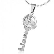 Acél medál pároknak - LOVE kulcs, szívecskék, cirkóniák