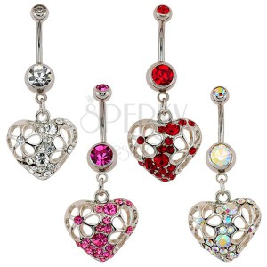 Köldök piercing - cirkóniaköves szív, filigrán virágok