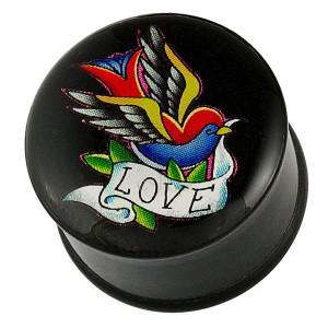 Fültágító dugó - tarka madárka, szalag LOVE felirattal