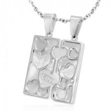 Kettős acél medál - gravírozott tábla, szív keretek