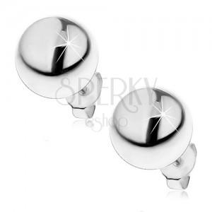 Ezüst fülbevaló - félgömb, stekkeres kapocs, 10 mm
