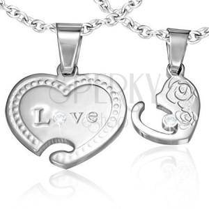 Szív medál pároknak - rózsa motívum, felirat, cirkónia