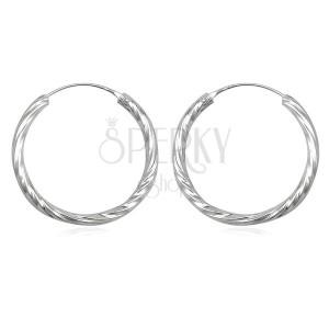 Ezüst 925ös fülbevaló  - karika, tekert mintázattal, 30 mm