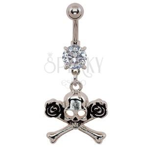 Köldök piercing - koponya és rózsák, patinás
