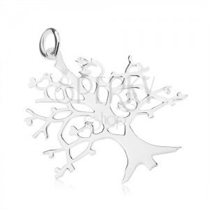 Medál 925 ezüstből - az élet fája, madarak és szívek