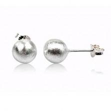 Bedugós ezüst fülbevaló - gyöngyházfényes golyócska, 12 mm