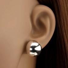 Ezüst fülbevaló - bedugós, félkör, 16 mm