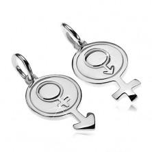 Ezüst 925 medálok pároknak - nő és férfi szimbólum