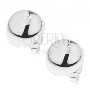 Ezüst félgömb fülbevaló - stekkeres kapocs, 14 mm