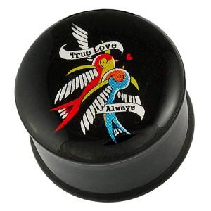 Fülpiercing - plug, két madár, szalag és szerelmes felirat