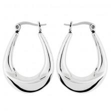 Acél fülbevaló - csillogó, ovális, nyereg forma