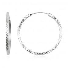 Ezüst karika fülbevaló 925 - rombusz motívum, 30 mm