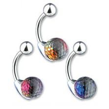 Piercing a köldökbe - kristály golyócska, színes hatás