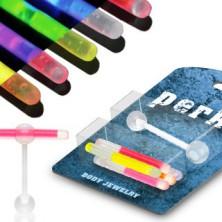 Nyelvpiercing - világító pálcikák, készlet 5 db