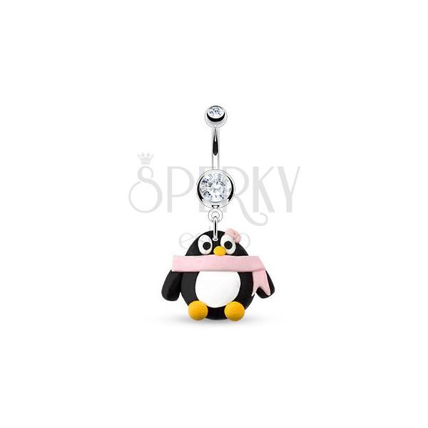 Piercing a köldökbe - pingvin, rózsaszín sál és virág