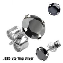 Ezüst 925 beszúrós fülbevaló - kör cirkónia, többféle színben