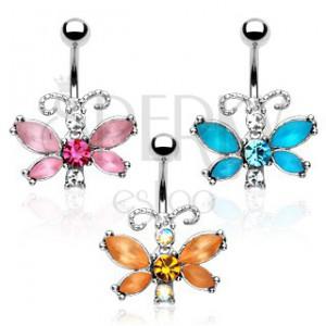 Köldök ékszer - köves pillangó tagolt csápokkal