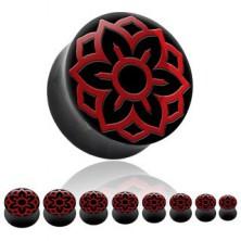 Fültágító plug - nyereg forma, lótusz virág, természetes szarv