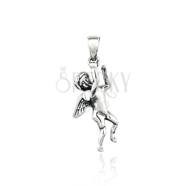 Medál sterling ezüstből - angyal, kis szárnyak, 35 mm