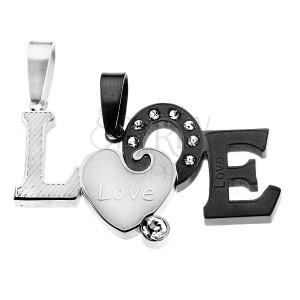 Két medál pároknak - kettétört LOVE felirat, matt