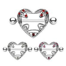 Mellbimbó piercing - kivágott szívek, cirkóniák