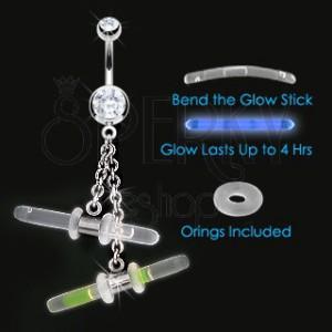 Köldök piercing - két világító pálca láncon, cirkóniák