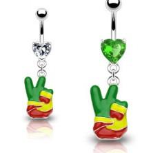 Köldök piercing - raszta kéz, PEACE szimbólum, szív cirkóniák