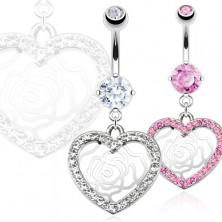 Köldök piercing nemesacélból - cirkónköves szív, rózsa