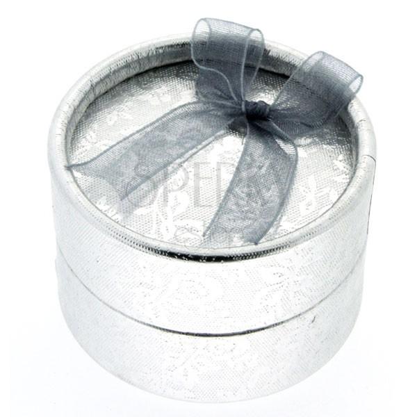 Ékszerdoboz - ezüst henger, virágok és szalag