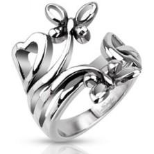 Nemesacél gyűrű - szív és virág motívumok
