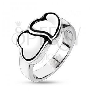 Gyűrű sebészeti acélból - kettős szívecske