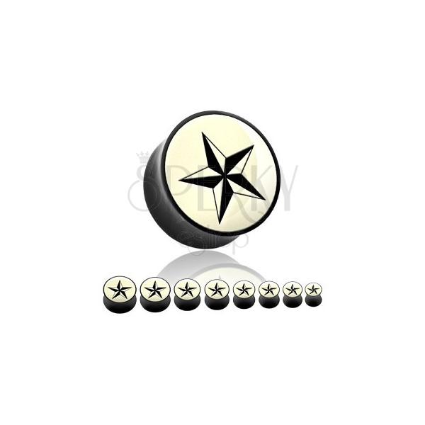 Fültágító plug természetes anyagból - fekete csillag